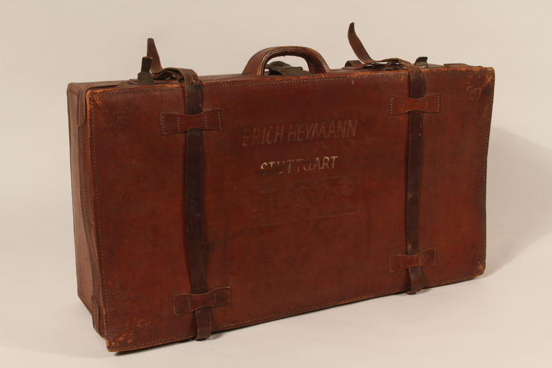 2009.157.2 front Brown leather suitcase used by a Polish Jewish refugee family