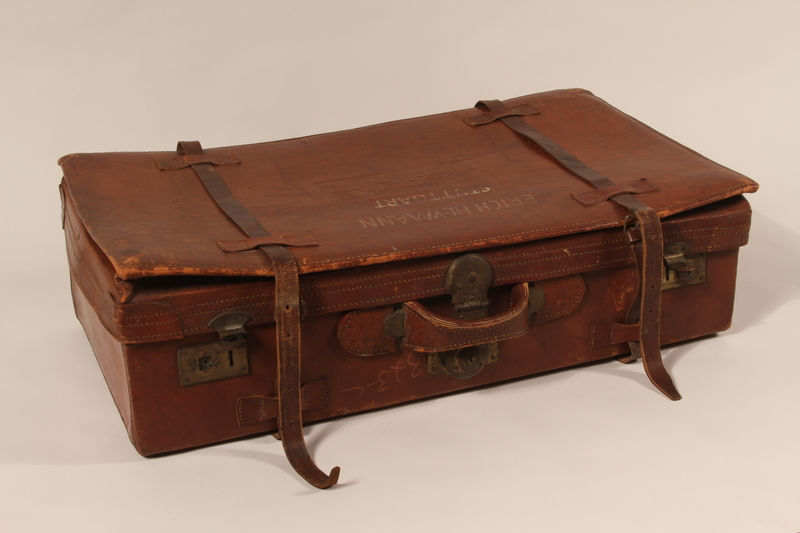 2009.157.2 top Brown leather suitcase used by a Polish Jewish refugee family