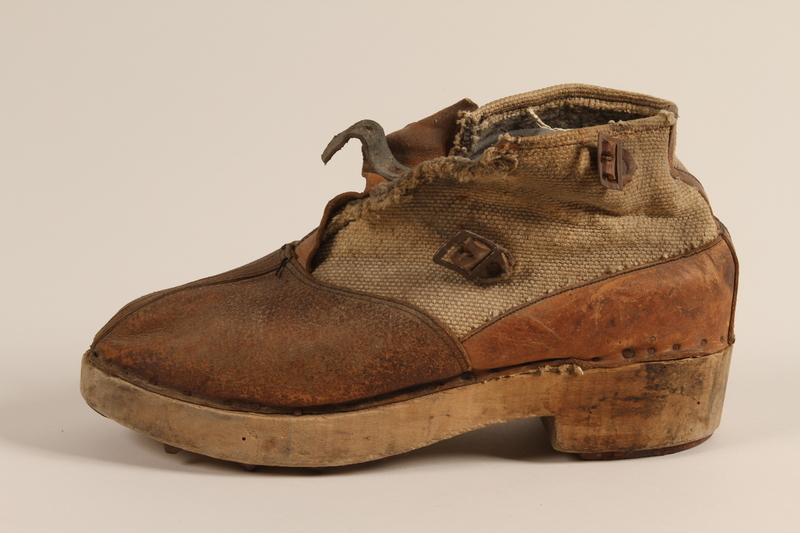 1990.333.60 b front Handmade shoes worn by an inmate of Buchenwald concentration camp