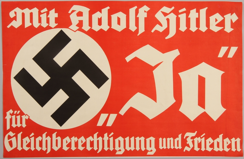 1990.333.7 front Propaganda advertisement implying that Hitler supports equality and peace