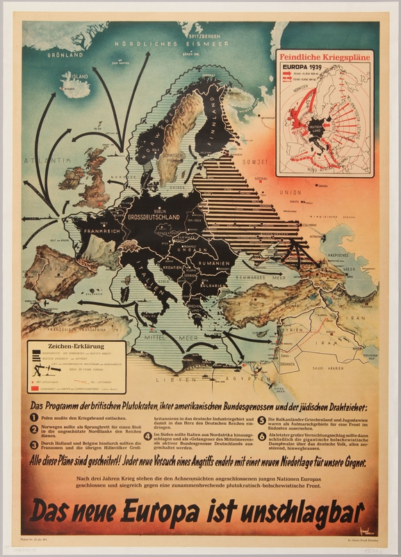 1990.333.8 front War propaganda poster mapping German military conquests