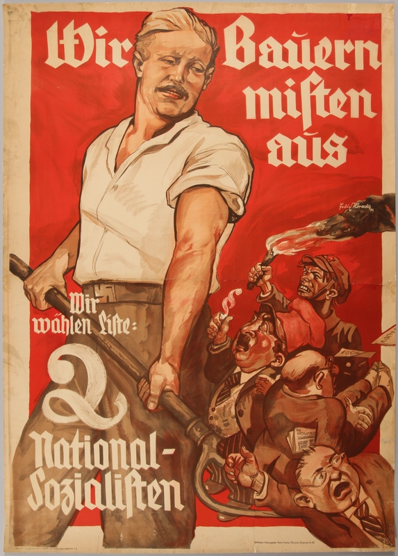 1990.333.9 front Pro-Nazi election poster with a farmer using a pitchfork against the bourgeoisie
