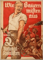 1990.333.9 front Pro-Nazi election poster with a farmer using a pitchfork against the bourgeoisie  Click to enlarge