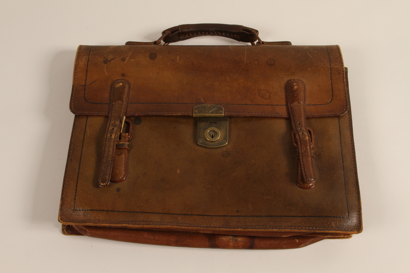 2008.347.2 front Leather briefcase used to hold family papers by Jewish refugees