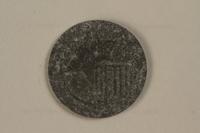 1990.335.41 front Łódź (Litzmannstadt) ghetto scrip, 5 mark coin  Click to enlarge