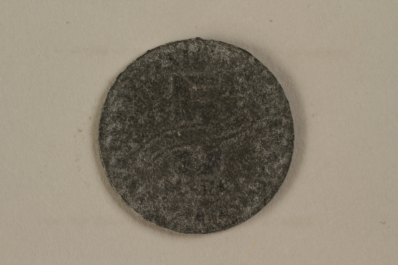 1990.335.41 back Łódź (Litzmannstadt) ghetto scrip, 5 mark coin