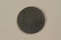 1990.335.42 front Łódź (Litzmannstadt) ghetto scrip, 10 mark coin  Click to enlarge