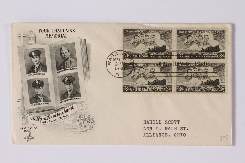 1990.335.5 a front Envelope and stamps commemorating chaplains killed on a ship sunk by a German U-boat