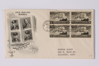 1990.335.5 a front Envelope and stamps commemorating chaplains killed on a ship sunk by a German U-boat  Click to enlarge