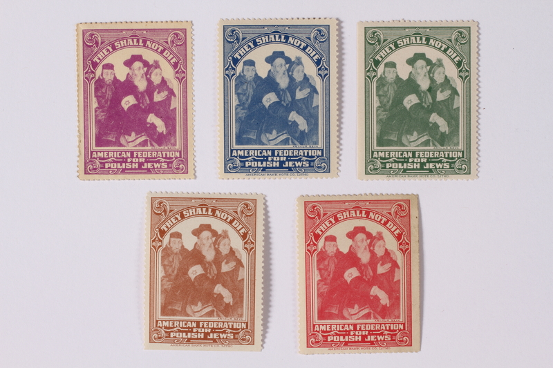 1990.335.6 front US poster stamp encouraging people to donate to a humanitarian organization