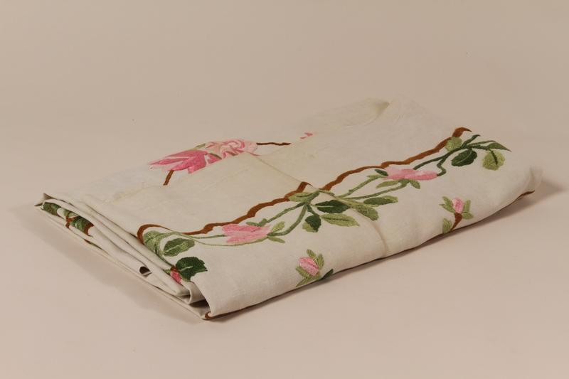 2006.498.4 top Rose embroidered tablecloth kept by a Kindertransport refugee
