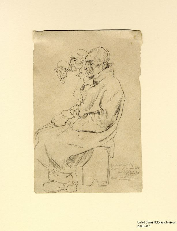 2009.344.1, Pencil drawing of a seated man in Buchenwald, Boris Taslitzsky Artwork Collection Pencil sketch of a seated man created by Boris Taslitzky in Buchenwald concentration camp
