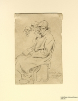 2009.344.1, Pencil drawing of a seated man in Buchenwald, Boris Taslitzsky Artwork Collection