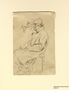 Pencil sketch of a seated man created by Boris Taslitzky in Buchenwald concentration camp