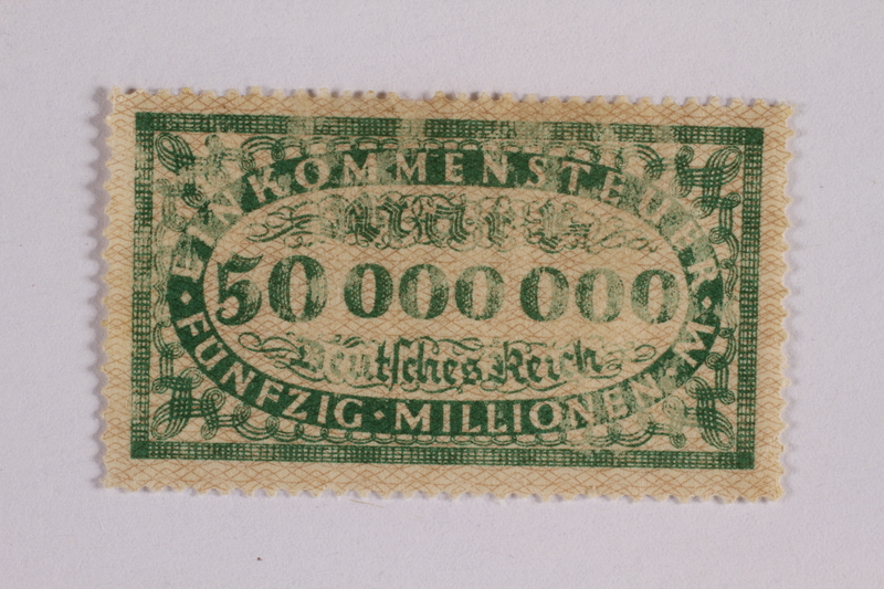 2006.265.15 front Income tax stamp, 50 million marks, issued in Weimar Germany