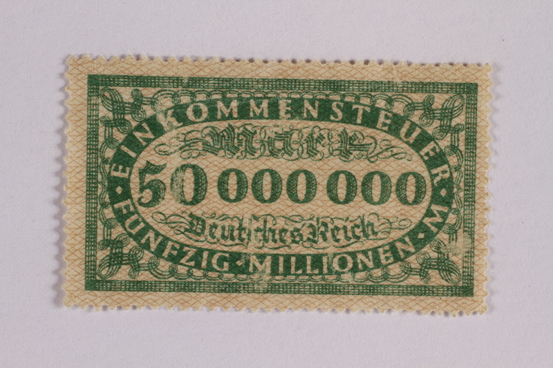 2006.265.16 front Income tax stamp, 50 million marks, issued in Weimar Germany