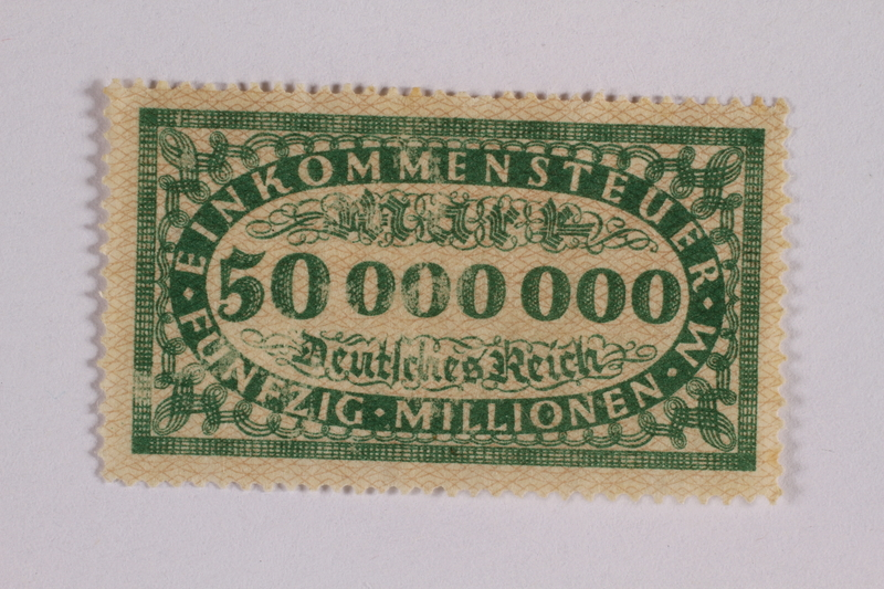 2006.265.17 front Income tax stamp, 50 million marks, issued in Weimar Germany