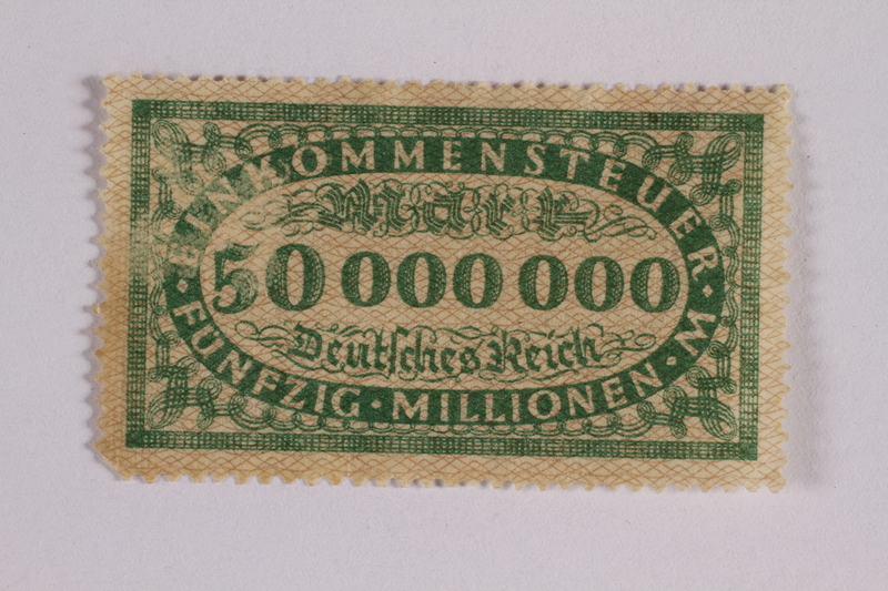 2006.265.18 front Income tax stamp, 50 million marks, issued in Weimar Germany