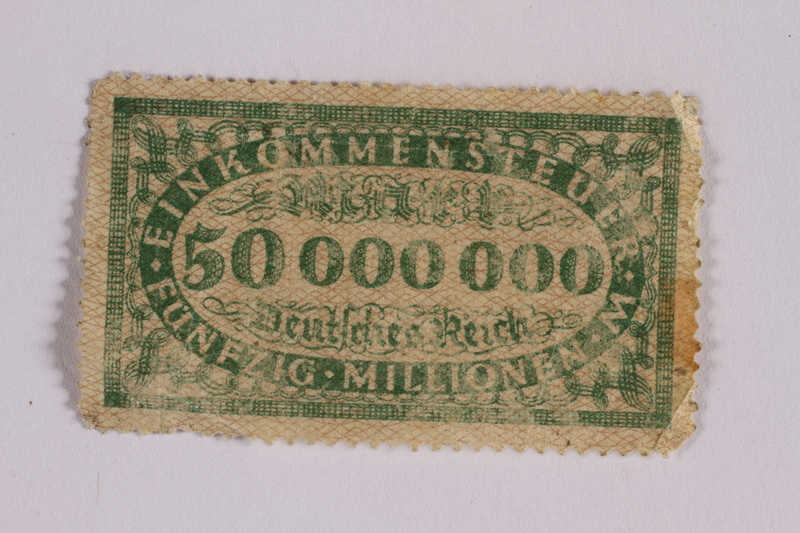2006.265.19 front Income tax stamp, 50 million marks, issued in Weimar Germany