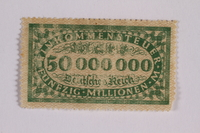 2006.265.20 front Income tax stamp, 50 million marks, issued in Weimar Germany  Click to enlarge