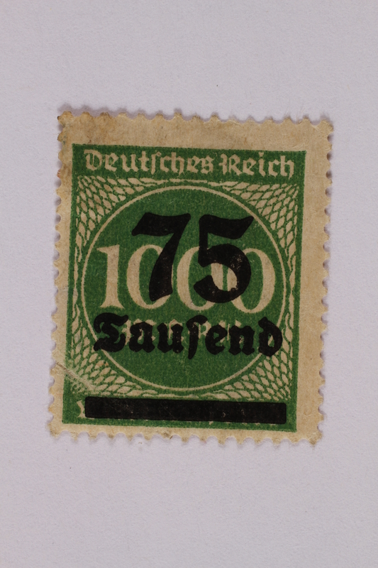 2006.265.21 front Postage stamp, 1000 mark, issued in Germany during hyperinflation in the Weimar Republic