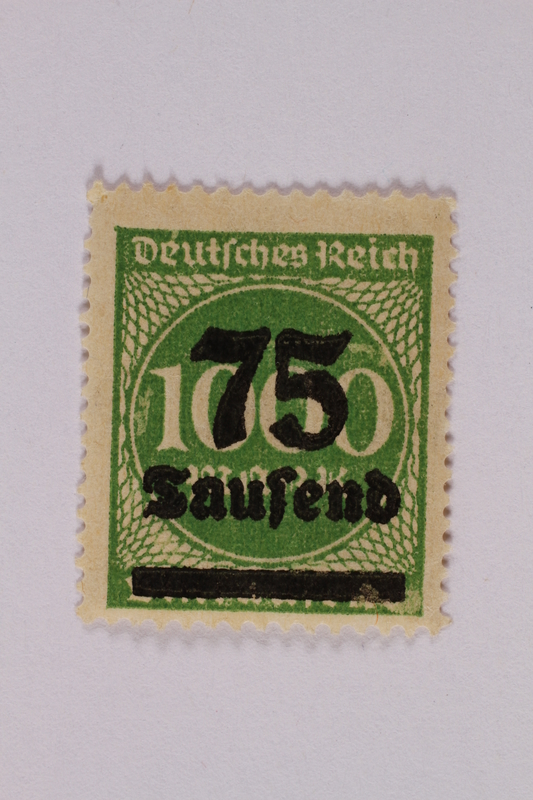 2006.265.23 front Postage stamp, 1000 mark, issued in Germany during hyperinflation in the Weimar Republic