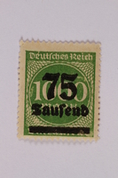 2006.265.23 front Postage stamp, 1000 mark, issued in Germany during hyperinflation in the Weimar Republic  Click to enlarge