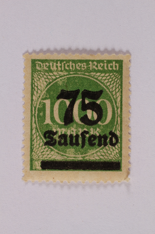 2006.265.24 front Postage stamp, 1000 mark, issued in Germany during hyperinflation in the Weimar Republic