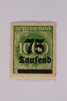 2006.265.24 front Postage stamp, 1000 mark, issued in Germany during hyperinflation in the Weimar Republic  Click to enlarge