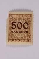 2006.265.25 front Postage stamp, 1000 mark, issued in Germany during hyperinflation in the Weimar Republic  Click to enlarge