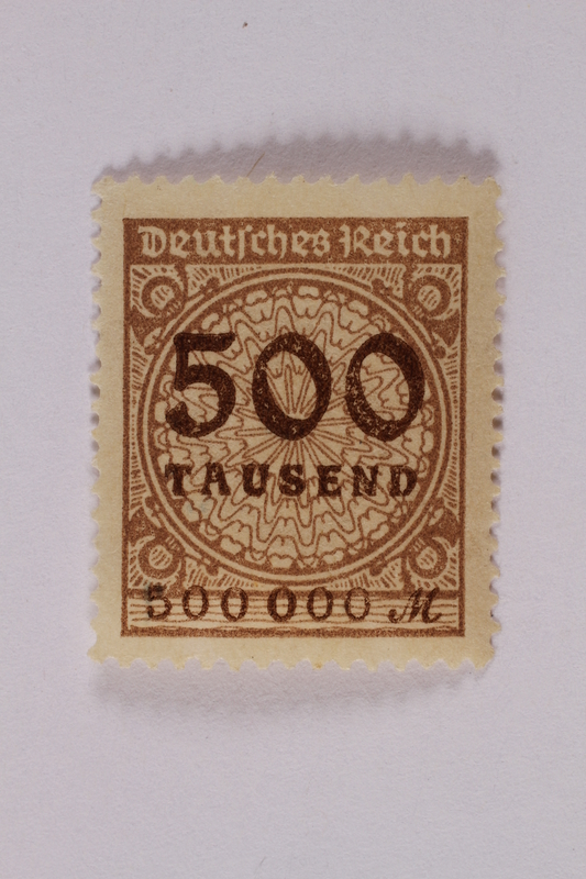 2006.265.26 front Postage stamp, 500 mark, issued in Germany during hyperinflation in the Weimar Republic