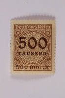 2006.265.26 front Postage stamp, 500 mark, issued in Germany during hyperinflation in the Weimar Republic  Click to enlarge