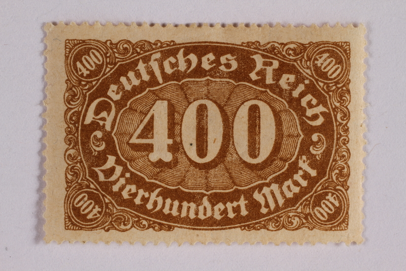 2006.265.27 front Postage stamp, 500 mark, issued in Germany during hyperinflation in the Weimar Republic