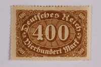 2006.265.27 front Postage stamp, 500 mark, issued in Germany during hyperinflation in the Weimar Republic  Click to enlarge
