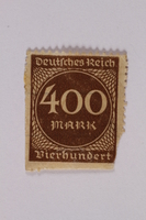2006.265.28 front Postage stamp, 400 mark, issued in Germany during hyperinflation in the Weimar Republic  Click to enlarge