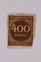 Postage stamp, 400 mark, issued in Germany during hyperinflation in the Weimar Republic