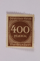 2006.265.29 front Postage stamp, 400 mark, issued in Germany during hyperinflation in the Weimar Republic  Click to enlarge
