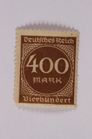 2006.265.30 front Postage stamp, 400 mark, issued in Germany during hyperinflation in the Weimar Republic  Click to enlarge