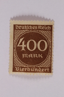 2006.265.32 front Postage stamp, 400 mark, issued in Germany during hyperinflation in the Weimar Republic  Click to enlarge