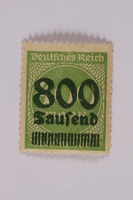 2006.265.38 front Postage stamp, 400 mark, issued in Germany during hyperinflation in the Weimar Republic  Click to enlarge