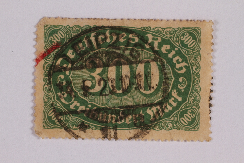 2006.265.40 front Postage stamp, 300 mark, issued in Germany during hyperinflation in the Weimar Republic
