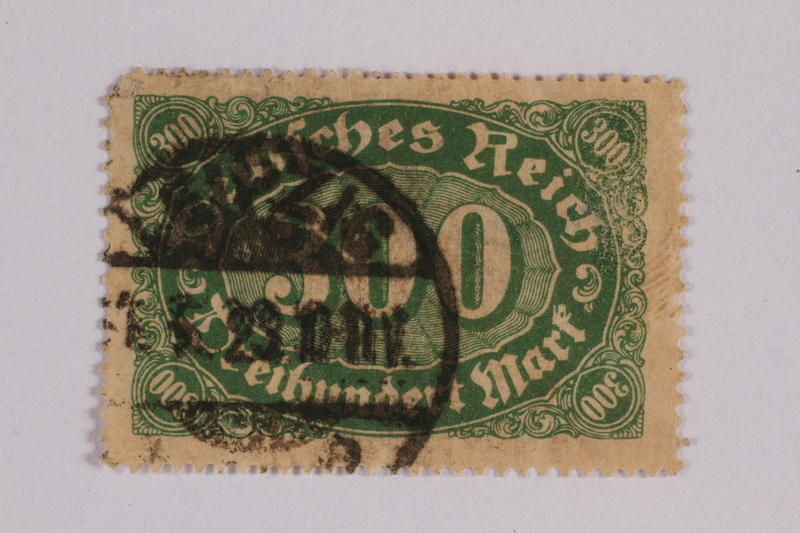 2006.265.41 front Postage stamp, 300 mark, issued in Germany during hyperinflation in the Weimar Republic