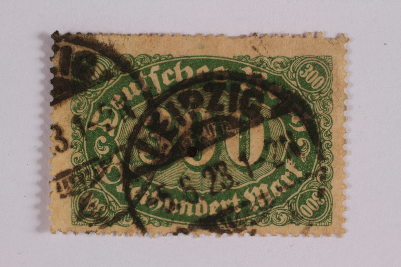 2006.265.46 front Postage stamp, 300 mark, issued in Germany during hyperinflation in the Weimar Republic