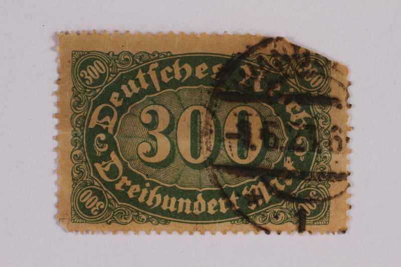 2006.265.47 front Postage stamp, 300 mark, issued in Germany during hyperinflation in the Weimar Republic