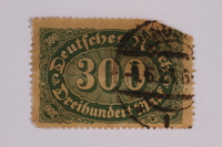 2006.265.47 front Postage stamp, 300 mark, issued in Germany during hyperinflation in the Weimar Republic  Click to enlarge
