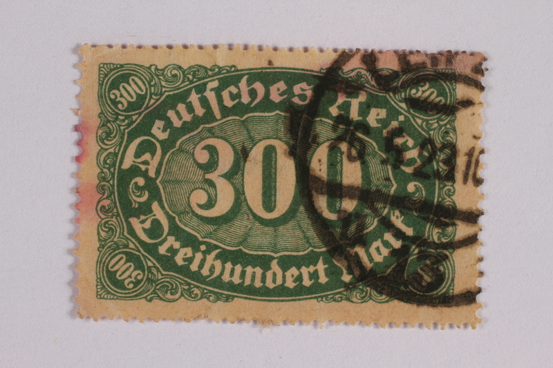 2006.265.48 front Postage stamp, 300 mark, issued in Germany during hyperinflation in the Weimar Republic