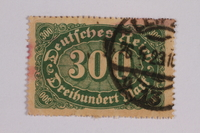 2006.265.48 front Postage stamp, 300 mark, issued in Germany during hyperinflation in the Weimar Republic  Click to enlarge