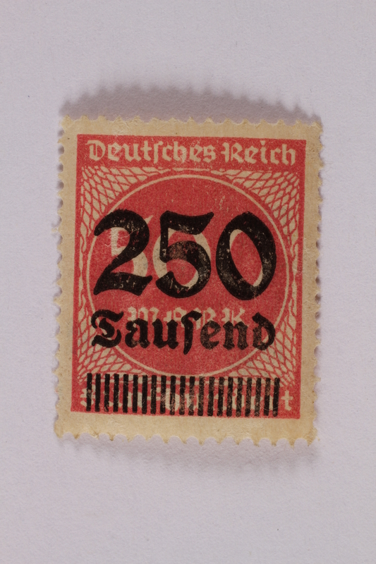 2006.265.49 front Postage stamp, 500 mark, issued in Germany during hyperinflation in the Weimar Republic