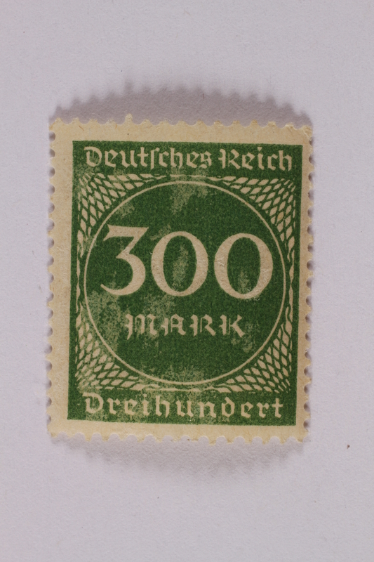 2006.265.50 front Postage stamp, 300 mark, issued in Germany during hyperinflation in the Weimar Republic