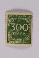 2006.265.50 front Postage stamp, 300 mark, issued in Germany during hyperinflation in the Weimar Republic  Click to enlarge